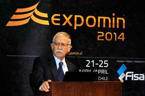 En la foto, Nelson Pizarro, gerente general de la mina Caserones y presidente honorario del Congreso Internacional Expomin 2014.