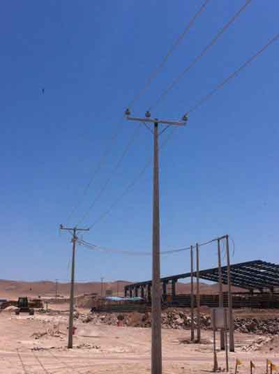 Líneas de transmisión eléctrica que alimentan al proyecto.
