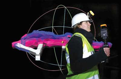 El escáner láser portátil ZEB1 produce imágenes 3-D de los datos recopilados a la velocidad normal de una caminata.