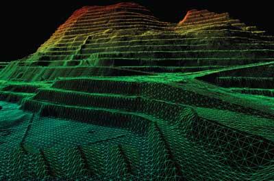 Modelación de un acopio en el rajo utilizando imágenes satelitales y el servicio mineRECON de Sandpit Innovation. (Fotografía cortesía de Sandpit Innovations)