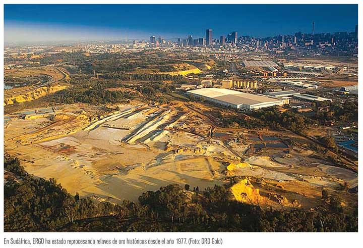 En Sudáfrica, ERGO ha estado reprocesando relaves de oro históricos desde el año 1977. (Foto: DRD Gold)