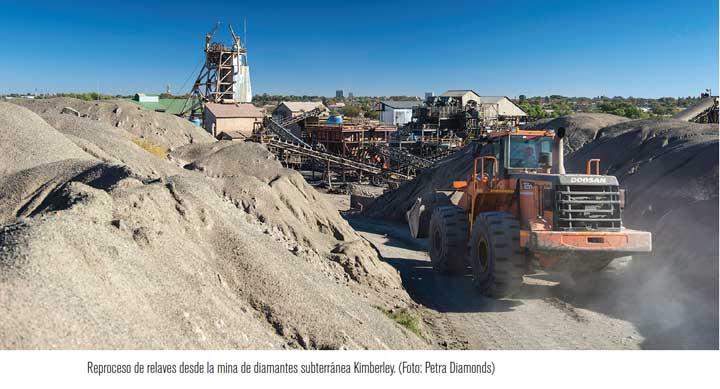 Reproceso de relaves desde la mina de diamantes subterránea Kimberley. (Foto: Petra Diamonds)