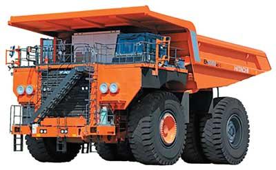 Los dos camiones más recientes de Hitachi son unidades eléctricas de corriente alterna, los cuales utilizan un sistema de conducción desarrollado por la compañía y un software de control de manejo que mejora la conducción del camión.
